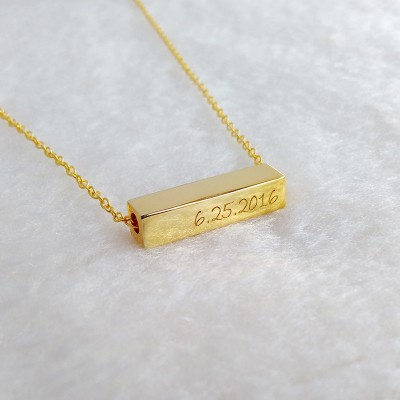 Horizontal Bar Necklace,Gold Bar Necklace,Vertical Name Bar Necklace,Engraved Coordinates Necklace,Long Bar Necklace,Custom Bar Jewelry