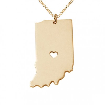 IN State Charm Necklace,Indiana State Necklace,State Shaped Necklace,Personalized Indiana State Necklace With A Heart