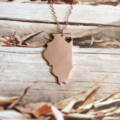 Illinois State Necklace IL State Charm Necklace State Shaped Necklace Personalized State Necklace 18k Gold State Necklace With A Heart