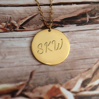 "Initial Disk Necklace,Gold Monogram Initial Disc Necklace,0.6""inch Personalized Disc Necklace,Engraved Disc Pendant,Custom Initial Necklace"