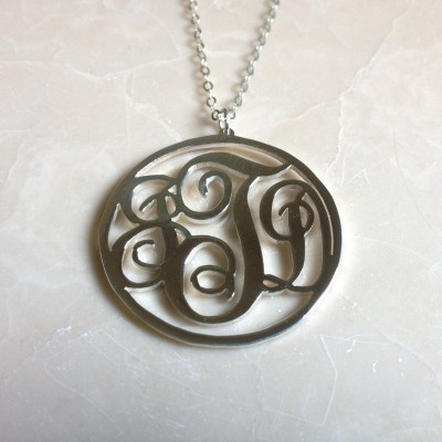 Initial Monogram Necklace,1.25 inch Monogram Nnecklace,Christmas gift birthday gift 925 Sterling silver - %100 Handmade