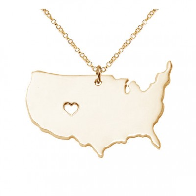 Large America Necklace,America Map Pendant,Personalized USA State Necklace ,State pendant,Map necklace With A Heart-%100 Handmade