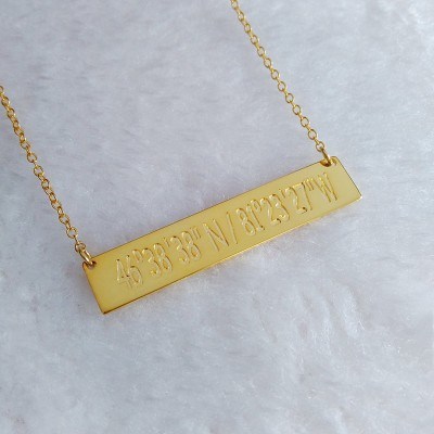 Latitude longitude necklace,Gold Coordinates Necklace,Silver Monogram Bar Necklace,Engraved Bar Necklace,latitude longitude jewelry