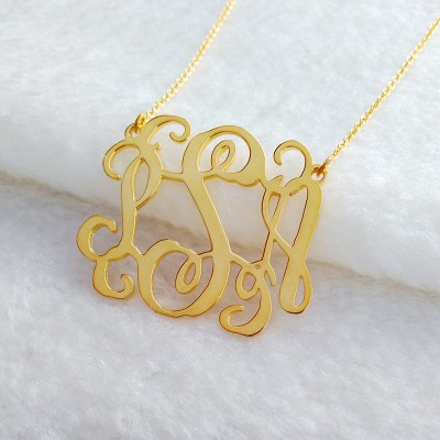 Letter Monogram Necklace,1.75 inch Personalized Necklace,3 Initial Necklace,Nameplate Necklace,Letter Necklace Christmas Gift