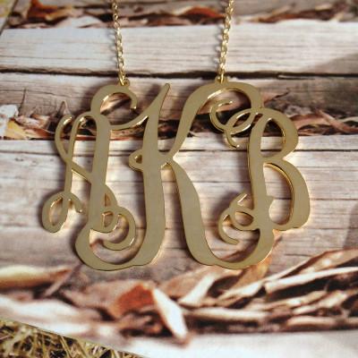 "Letter Monogram Necklace,Gold Monogram Necklace,3 Initial Monogram Necklace,1.25"" Personalized Necklace,Custom Necklace Christmas Gift"