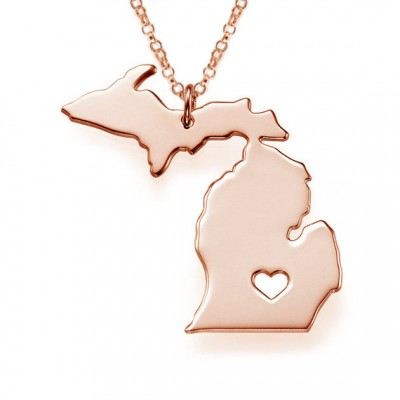 MI State Necklace,Rose Gold Michigan State Necklace,State Shaped Necklace,MI Charm State Necklace,Personalized MI Necklace With A Heart