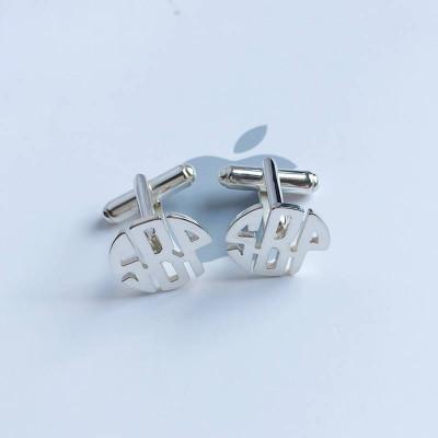 Monogram Cufflink,Personalized Wedding Cufflinks,Groom Wedding Cufflinks,Three Initials Monogram Cufflinks,Elegant Monogrammed Cufflinks