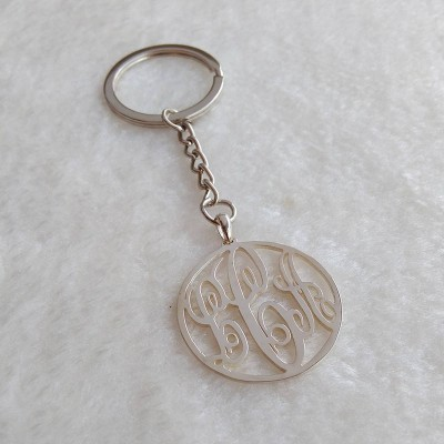 Monogram Keychain,Silver Monogrammed Initial Keychain,Celebrity 3 initials Monogram Keychain,Custom Any Initial Keychain,Father's Day Gift
