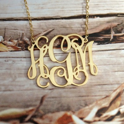 Monogram Necklace-1.75 inch 18k Gold Plated Personalized Necklace Christmas Gift Birthday Gift-925 Sterling silver rose gold-%100 Handmade