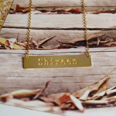 Name Plate Necklace,Name Bar Necklace,Gold Horizontal Bar Necklace,Personalized Bar Necklace,Engraved Bar Necklace,Custom Jewelry