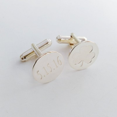 National symbol of Ireland Cufflinks,Shamrock Date Cufflinks,Personalized Wedding Cufflinks,Groom Cufflinks,Elegant Monogrammed Cufflinks