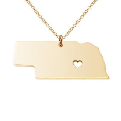 Nebraska State Necklace, NE State Necklace, Nebraska State Charm Necklace, State Shaped Necklace Custom Necklace With A Heart-%100 Handmade