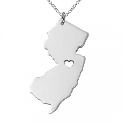 New Jersey State Necklace,State Shaped Necklace,NJ State Charm Necklace,Personalized New Jersey State Necklace With A Heart-%100 Handmade