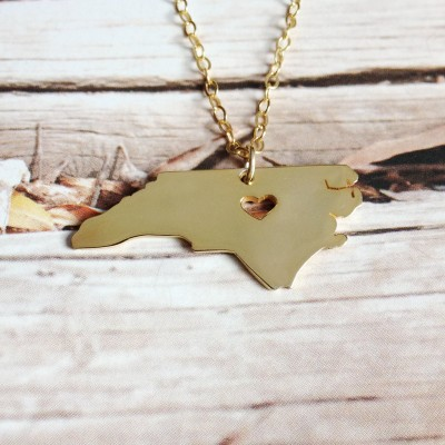 North Carolina State Necklace,NC State Shaped Necklace,North Carolina Map State Charm ,Personalized NC State Necklace Sterling Silver