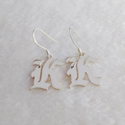 Old English Earrings,Carmen Electra Style Initial Earings,Single Initial Earrings,One Letter Earrings,Custom Earrings,Shrink Art Earrings