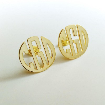 "Personalize Circle Monogram Earrings,Gold Monogram Earrings,Gold Monogram Earrings,Any initial Monogram Earings 0.6""inch %100 Handmade"