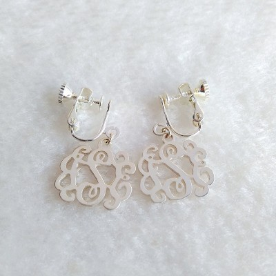 "Personalize Clip Earring,Clip on Earrings,Sterling Silver Monogram Earrings,Personalize Earings,Any initial Monogram Earings 0.6""inch"