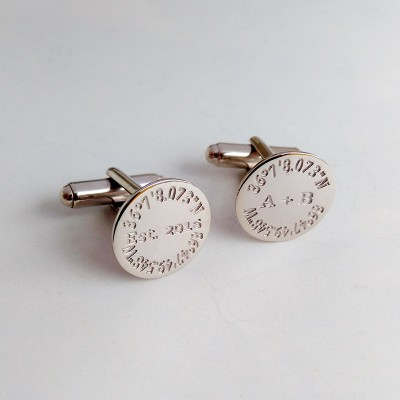 Personalized Coordinates Cufflinks,Groom Wedding Cufflinks,Custom Latitude Longitude Cufflinks,Anniversary Date Cufflinks,Groom Wedding Gift