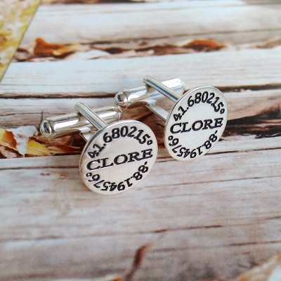 Personalized Coordinates Cufflinks,Groom Wedding Cufflinks,Engraved Latitude Longitude Cufflinks,Anniversary Date Cufflinks