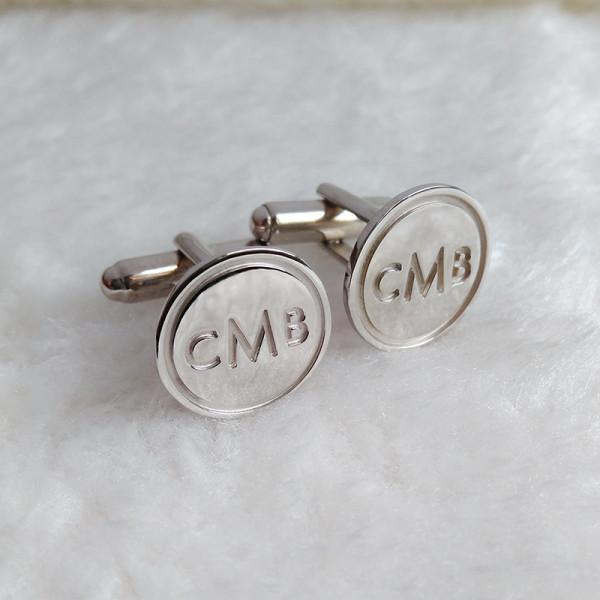 Personalized Cufflinks,Circle Initial Cufflinks,Silver Men CuffLinks,Engraved Monogram CuffLinks,Elegant Monogrammed Cufflinks