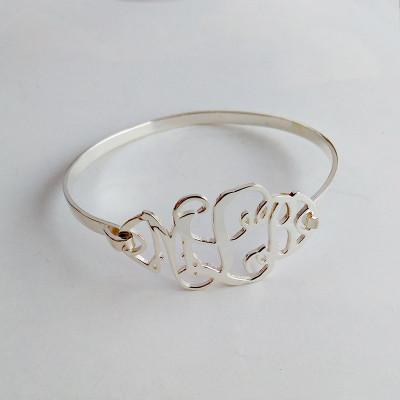 Personalized Monogram Bracelet,3 Initial Bracelet,1.5 Inch Custom Monogram Bracelet,Personalize Name Bracelet Best Christmas Gift