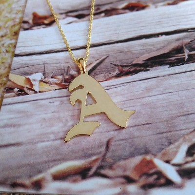 Personalized Old English Necklace,Gold One Letter Necklace,Single Letter Necklace,Personalized Carmen Electra Style Initial Pendant Necklace
