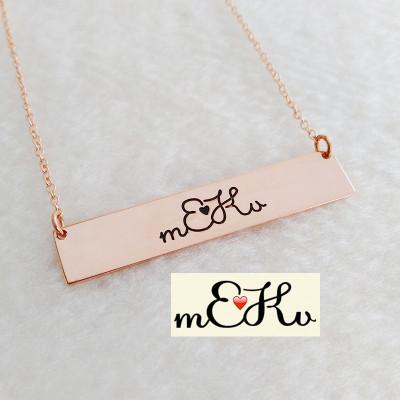 Personalized Signature Necklace Rose Gold,Handwritting Necklace,Horizontal Bar Necklace,Engraved Necklace,Custom Handwritting Jewelry