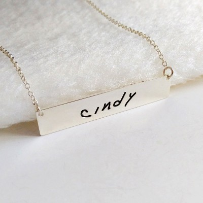 Personalized Signature Necklace,Handwritting Bar Necklace,Silver Horizontal Bar Necklace,Engraved Bar Necklace,Custom Handwritting Jewelry