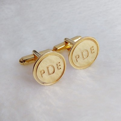 Personalized Wedding Cufflinks,Circle Initial Cufflinks,Gold Men CuffLinks,Engraved Initial CuffLinks,Elegant Monogrammed Cufflinks