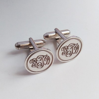 Personalized Wedding Cufflinks,Circle Initial Cufflinks,Silver Men CuffLinks,Engraved Monogram CuffLinks,Elegant Monogrammed Cufflinks