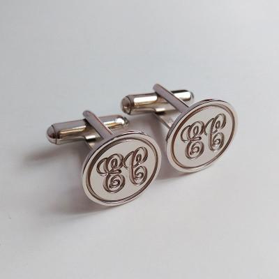 Personalized Wedding Cufflinks,Circle Initial Cufflinks,Silver Men CuffLinks,Engraved Monogram CuffLinks,Elegant Monogrammed Cufflinks