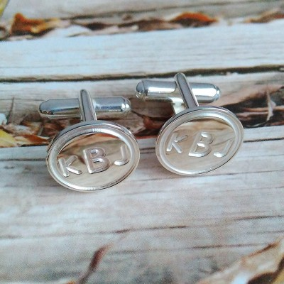 Personalized Wedding Cufflinks,Circle Initial Cufflinks,Silver Mens CuffLinks,Engraved Monogram CuffLinks,Chirstmas Gift