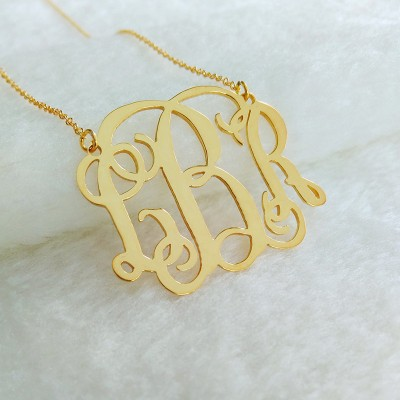 Plated Monogram Necklace,3 Initial Monogram Necklace,Gold Personalized Monogram Necklace,Nameplate Necklace Letter Jewelry Best Gift