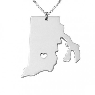 RI State Necklace,Rhode Island State Necklace,Rhode Island State Charm Necklace, State Shaped Necklace Custom Necklace With A Heart