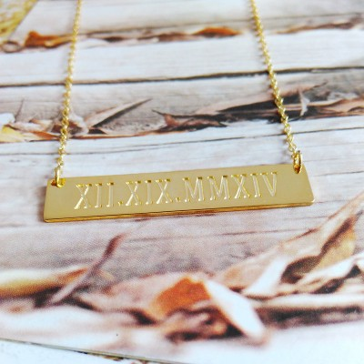 Roman Numeral Date Necklace,WEDDING DATE Necklace,Due Date Necklace,Horizontal Bar Necklace,Engraved Bar Necklace,Love Necklace