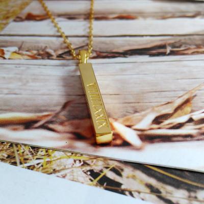 Roman Numeral Gold Bar Necklace,Engraved Coordinates Necklace,Silver Long Bar Necklace,Silver Bar Necklace,Custom Latitude Longitude Jewelry