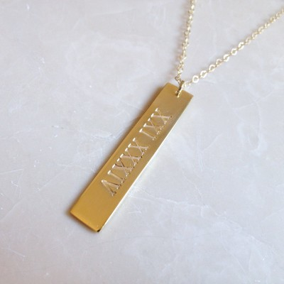 Roman Numeral Vertical Bar Necklace,Engraved Bar Necklace,Personalized Vertical Bar Necklace,Sterling Sliver Vertical Bar Charm,Bar Jewelry