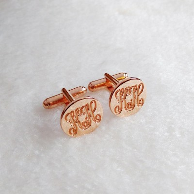 Rose Gold CuffLinks,Personalized Two Initial Cufflinks,Groom Wedding CuffLinks,Engraved Monogram CuffLinks,Elegant Monogrammed Cufflinks