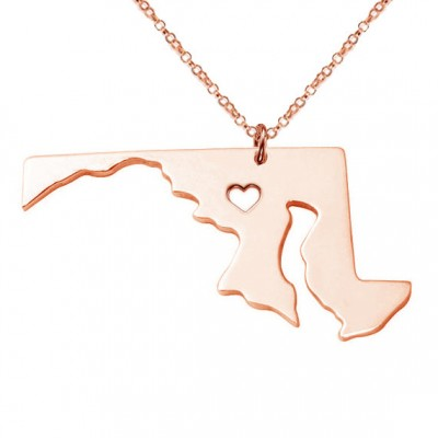 Rose Gold MD State Shaped Necklace,Maryland State Necklace,MD State Charm Necklace Personalized MD Necklace,Gold State Necklace With A Heart