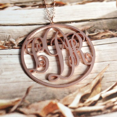 Rose Gold Monogram Necklace,3 Initial Monogram Necklace,1 inch Personalized Necklace,Christmas Gift,Custom Necklace -%100 Handmade