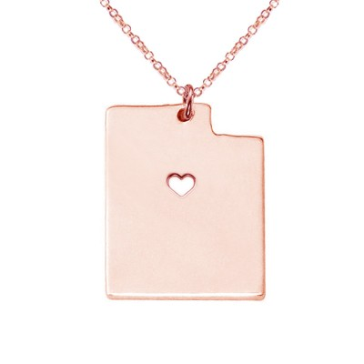 Rose Gold UT State Necklace,Utah State Necklace,Personalized Utah State Necklace ,State Shaped Necklace With A Heart-%100 Handmade