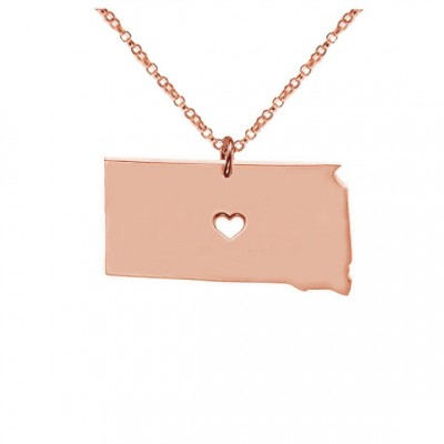 SD State Necklace,Rose Gold South Dakota State Necklace with A Heart,South Dakota State Love Necklace ,Custom SD State Necklace