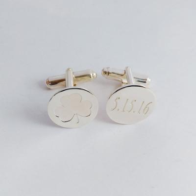 Shamrock Date Cufflinks,Personalized Wedding Cufflinks,Groom Wedding Cufflinks,Date and Initials Cufflinks,Elegant Monogrammed Cufflinks