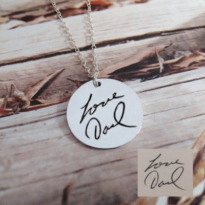 Signature Necklace,Handwritting Disc Necklace,Silver Circle Signature Necklace,Engraved Circle Necklace,Custom Handwritting Jewelry