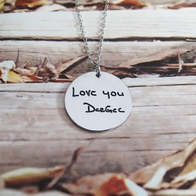 Signature Necklace,Handwritting Disc Necklace,Silver Circle Signature Necklace,Engraved Circle Necklace,Custom Handwritting Jewel