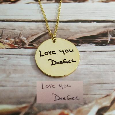 Signature Necklace,Handwritting Necklace,Gold Circle Signature Necklace,Engraved Circle Necklace,Custom Handwritting Jewelry