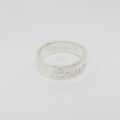 Silver Band Ring,Wedding Date Ring,3 Initial Monogram Ring,Personalized Name Ring,Engraved Monogrammed Ring,Custom Name Jewelry