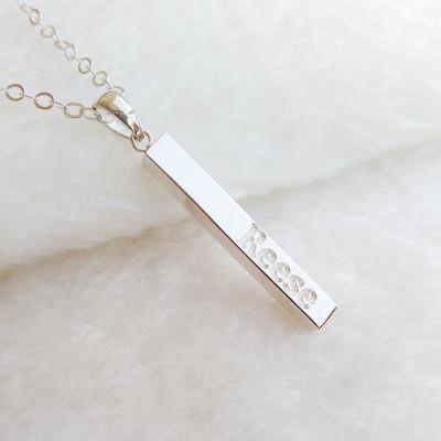 Silver Bar Necklace,Personalized Coordinate Necklace,Engraved Bar Necklace,Silver Long Bar Necklace,Custom Latitude Longitude Jewelry