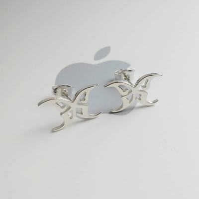 Silver Butterfly Earrings,Personalize Butterfly Earings,Custom any Logo Earings,Specil Symbols  Earrings,Best Gift For Girls %100 Handmade
