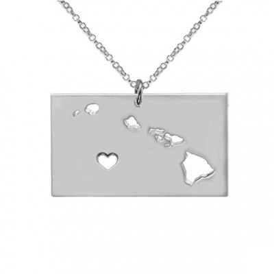 Silver HI State Charm Necklace,Hawaii State Necklace,State Shaped Necklace,Personalized Hawaii State Necklace,HI State Necklace With A Heart